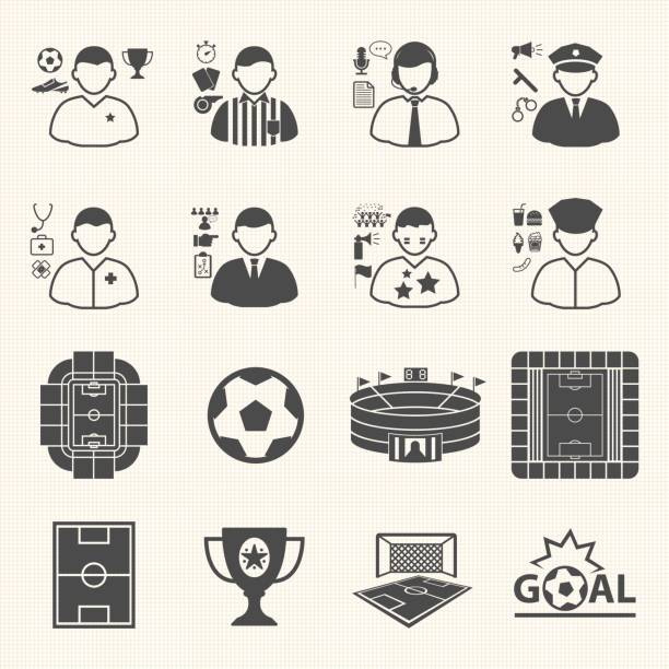 Staff and people in soccer championship icons. Collection of symbol soccer. Vector icons set Staff and people in soccer championship icons. Collection of symbol soccer. Vector icons set fan club stock illustrations