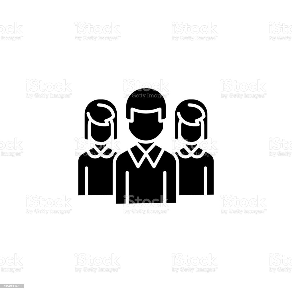 Staff black icon concept. Staff flat  vector symbol, sign, illustration. royalty-free staff black icon concept staff flat vector symbol sign illustration stock vector art & more images of adult