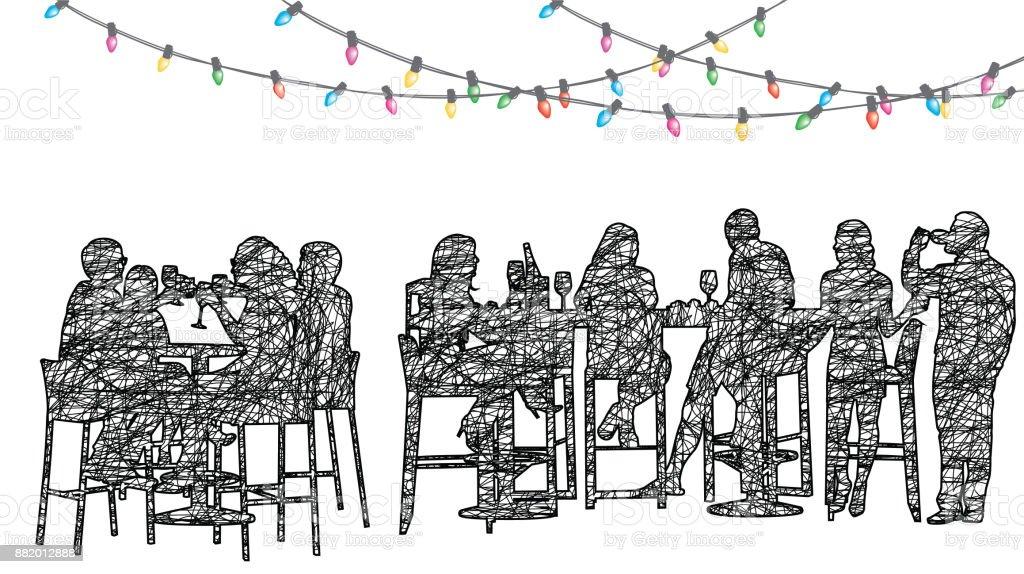 Staff Christmas Party Restaurant vector art illustration