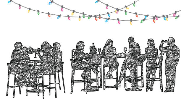 staff christmas party restaurant - office party stock illustrations, clip art, cartoons, & icons