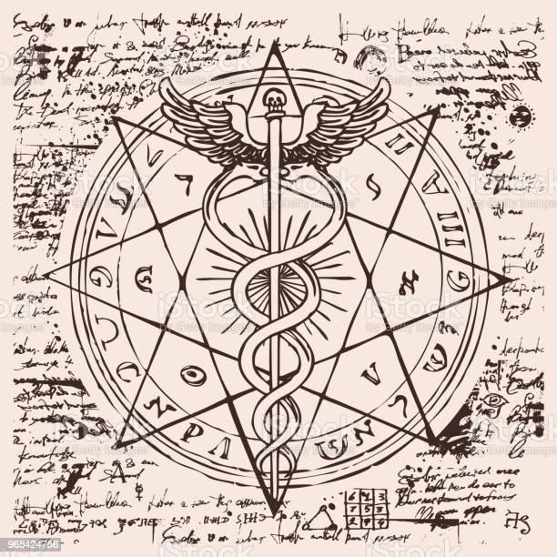 Personel Hermes Z Dwoma Wężami Ze Skrzydłami - Stockowe grafiki wektorowe i więcej obrazów Kaduceusz