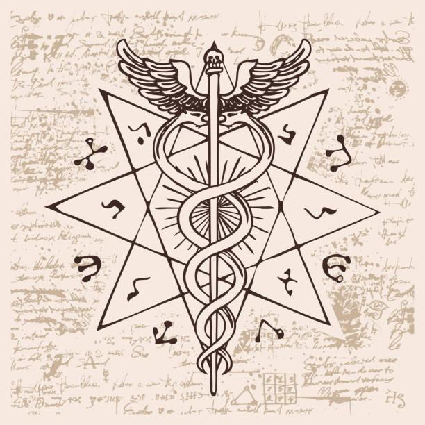 illustrazioni stock, clip art, cartoni animati e icone di tendenza di staff of hermes with two snakes with wings - ancient medical symbol