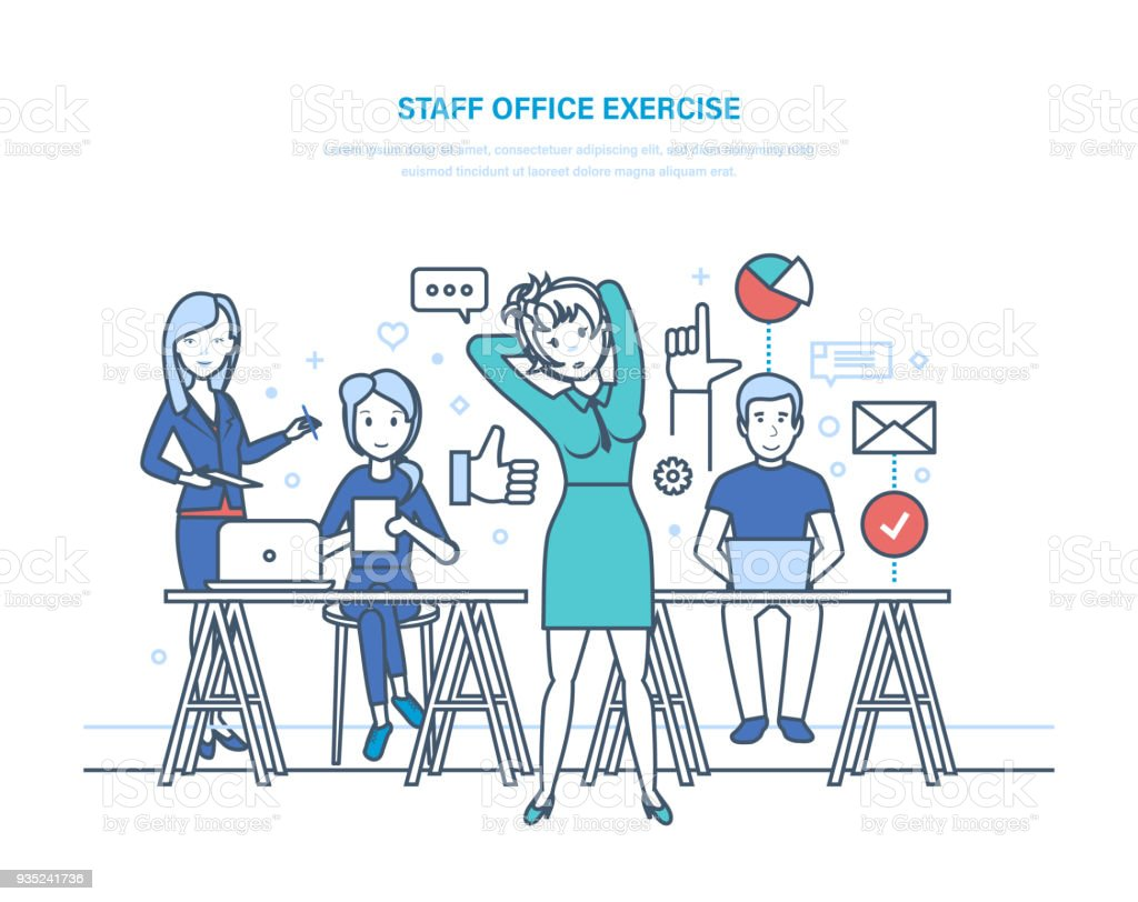 staff office exercise business office workers clerk girl engaged