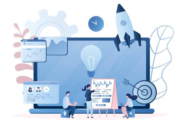 ilustrações, clipart, desenhos animados e ícones de pessoal ou educação de pessoas. incubadora de negócios, programas de treinamento de negócios. iniciar o desenvolvimento e o trabalho em equipe. - startup