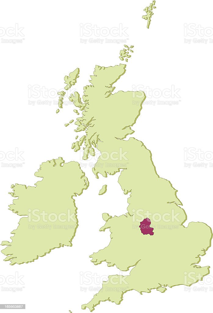 UK Staffordshire map royalty-free stock vector art