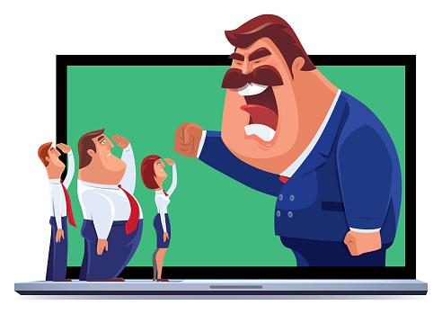 staffs saluting to boss via laptop