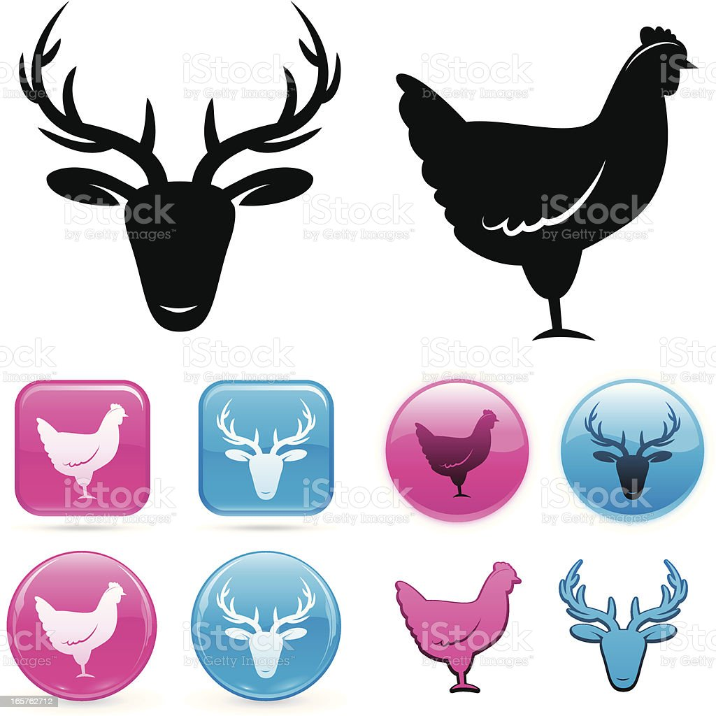 Stag and hen icons vector art illustration