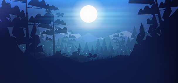 Stag in a forest, and mountains background at night