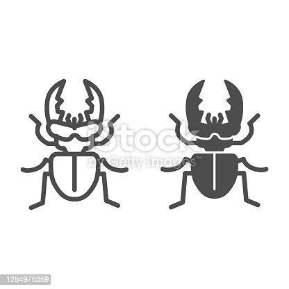 Stag-beetle line and solid icon, Insects concept, large beetle sign on white background, Deer bug icon in outline style for mobile concept and web design. Vector graphics