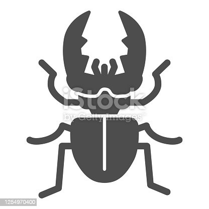 Stag-beetle solid icon, Insects concept, large beetle sign on white background, Deer bug icon in glyph style for mobile concept and web design. Vector graphics