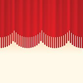Abstract line stage curtain red background.