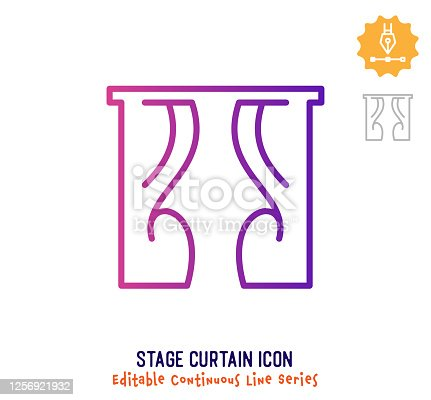 istock Stage Curtain Continuous Line Editable Stroke Line 1256921932