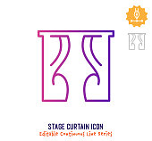 Stage curtain vector icon illustration for logo, emblem or symbol use. Part of continuous one line minimalistic drawing series. Design elements with editable gradient stroke line.