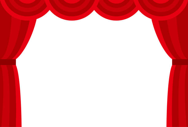 stockillustraties, clipart, cartoons en iconen met podiumgordijnen (druppel gordijn) - toneel