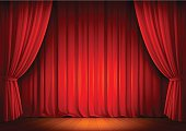 Red Theatre Stage Curtains - Vector Illustration