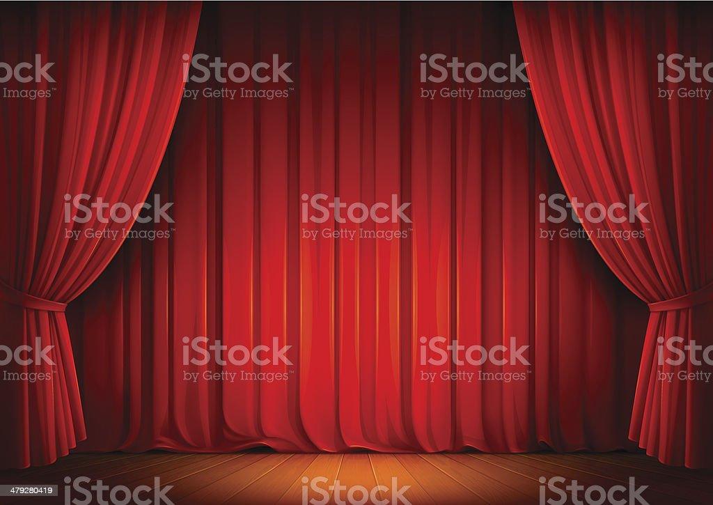 Stage Curtains vector art illustration