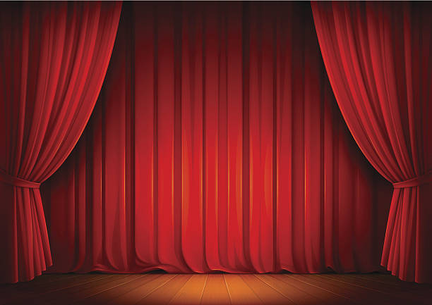 Stage Curtains vector art illustration