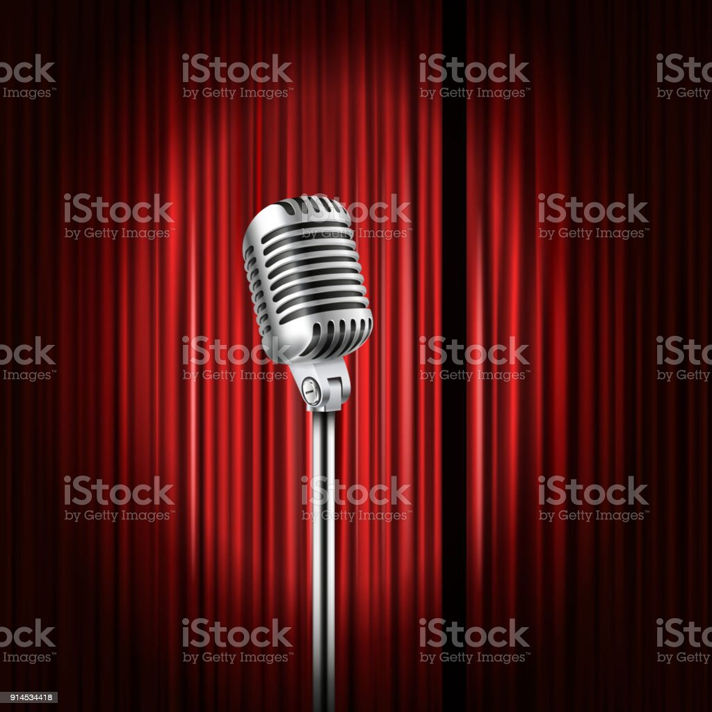 Stage curtains with shining microphone vector illustration. Standup comedy show concept vector art illustration