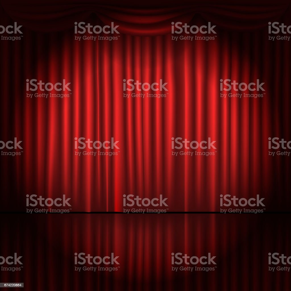 Stage curtains with spot light vector illustration vector art illustration