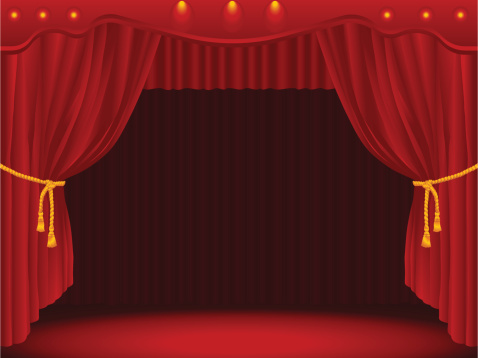 Stage with curtains.