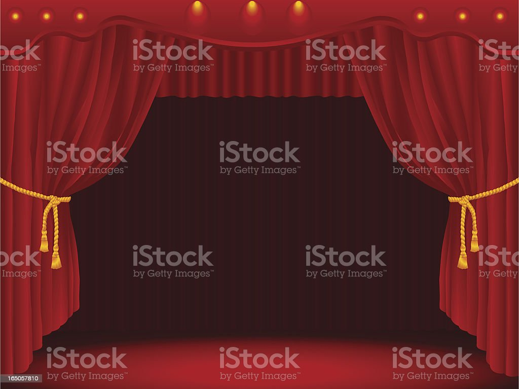 Stage Draped With Curtains vector art illustration