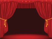 Stage with curtains. Gradient mesh version.