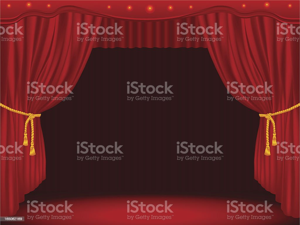 Stage Draped With Curtains (GM) vector art illustration
