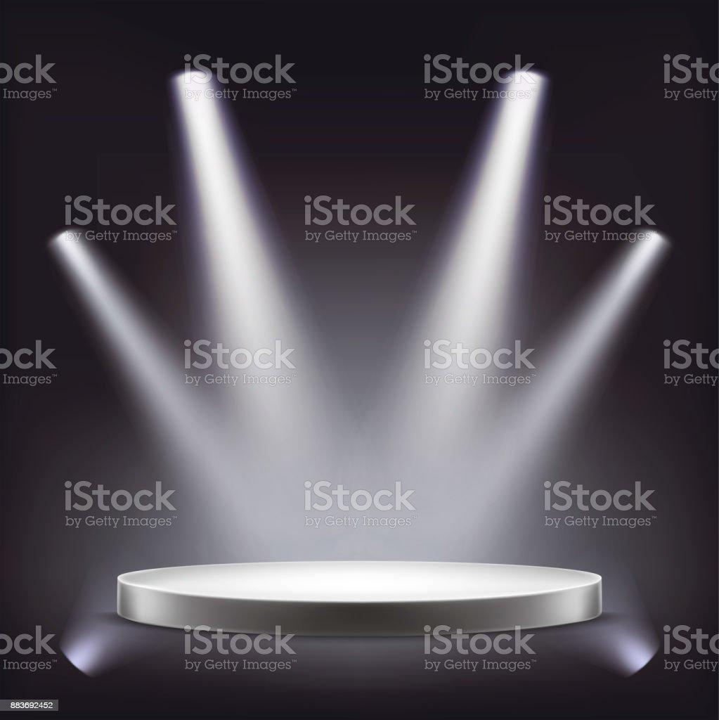Stage, empty round podium illuminated by spotlights vector art illustration