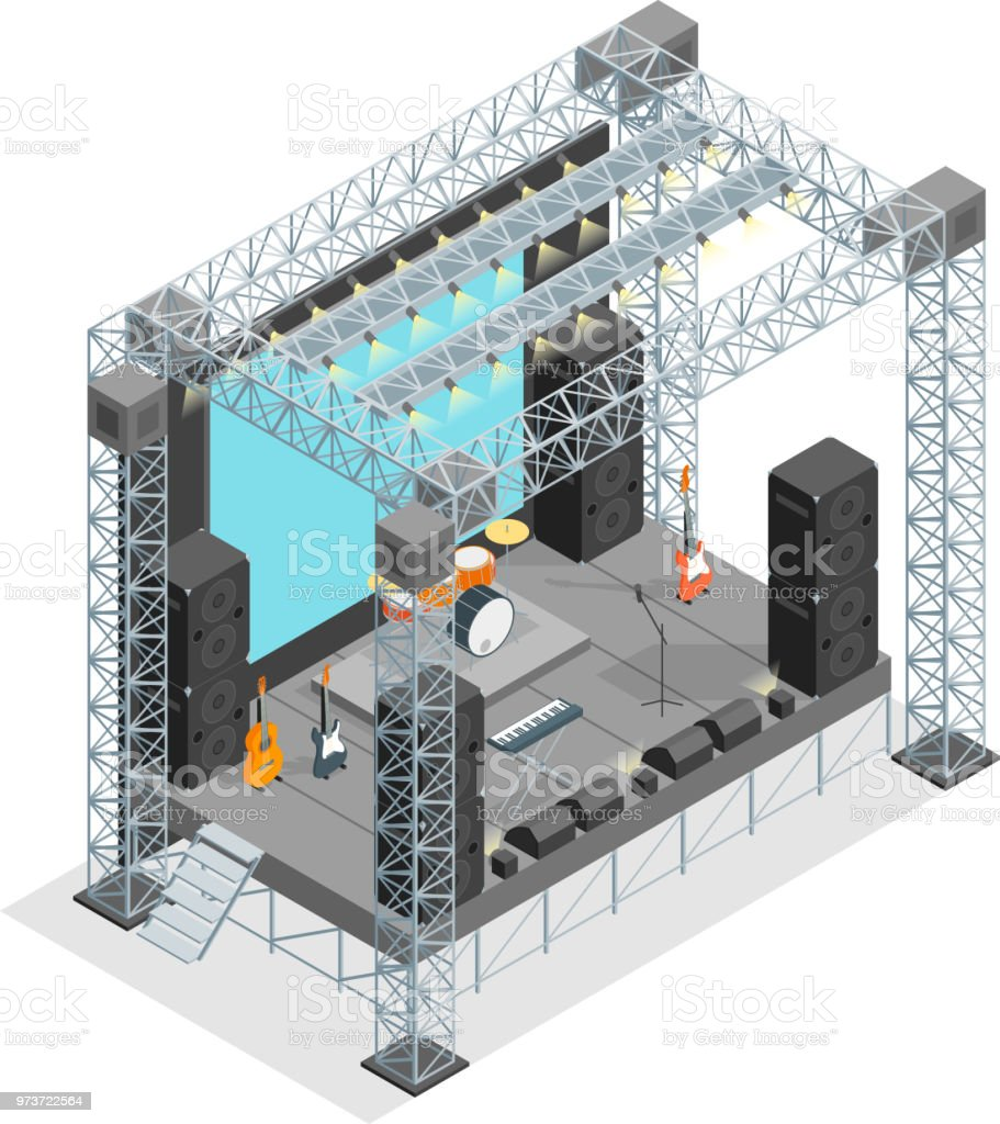 Stage for Street Performance Concept 3d Isometric View. Vector