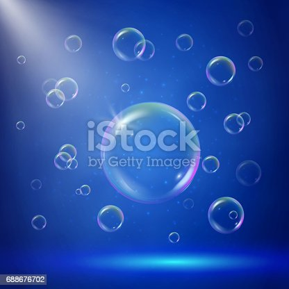 Stage illumination with spotlights and bubbles. Blue deep sea scene with shampoo foam in water. Colorful realistic bubbles with sprays, rays and flare. Background with blowing soap for bath and shower