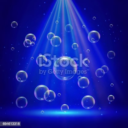 Stage illumination with spotlights and bubbles. Blue deep sea scene with shampoo foam in water. Colorful realistic bubbles with sprays and sunshine rays. Blowing soap spray for washing design flyer