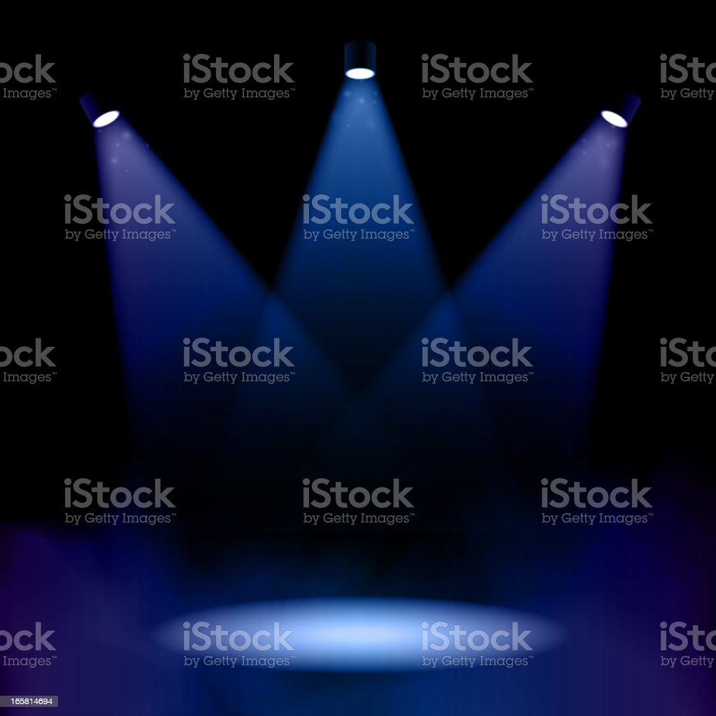 Stage lighting with fog vector art illustration