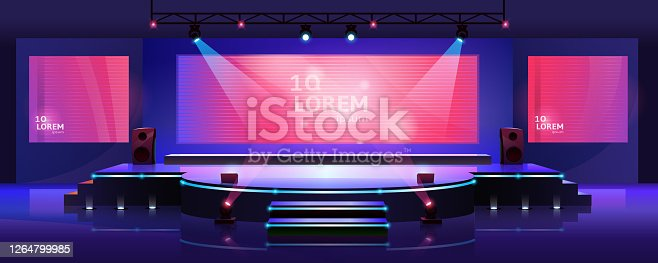 istock Stage of conference hall, presentation and concert scene, vector empty background template. Modern event stage with speaker podium, chair seats, spotlights and projector display monitors on screen 1264799985