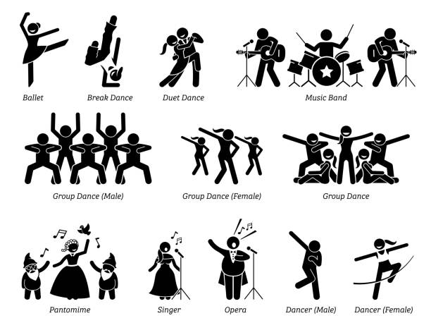 Stage performer artists for musical, dance, and theater show. vector art illustration