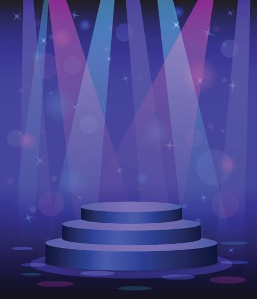 podium disco diskothek tanz etage rampenlicht lichtstrahlen hintergrund bühne - ballsäle stock-grafiken, -clipart, -cartoons und -symbole