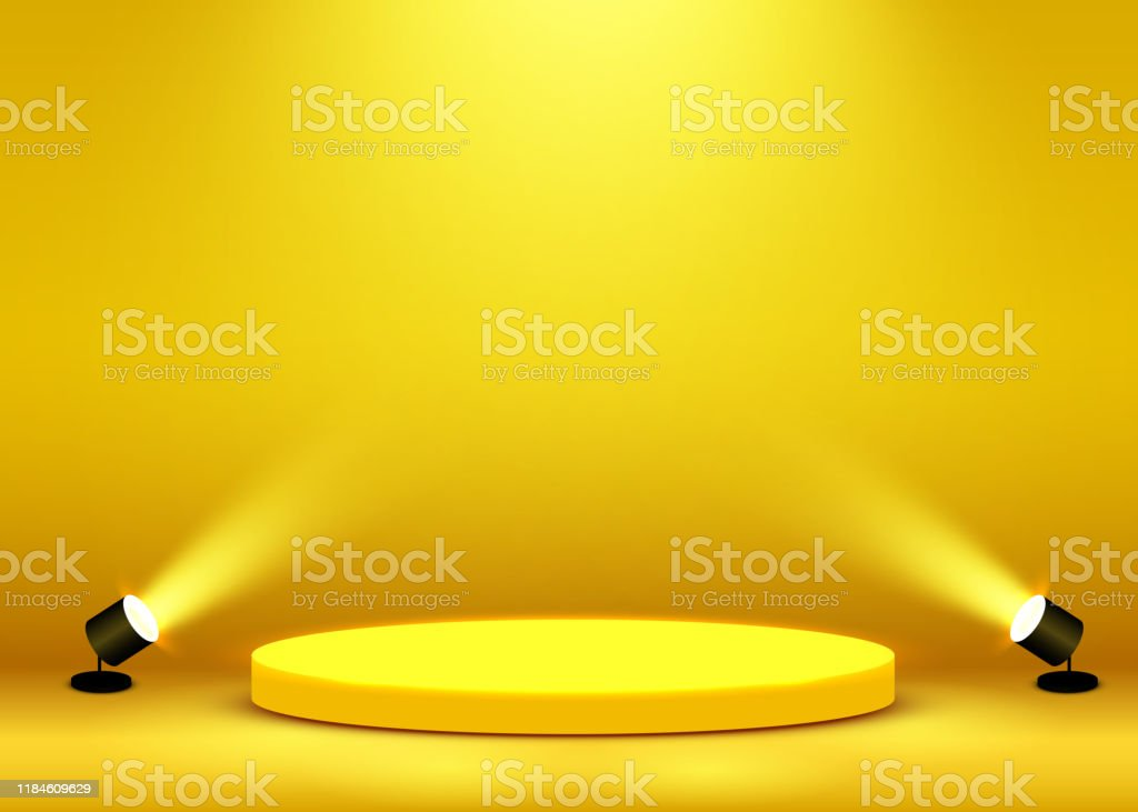 Stage Podium Scene for Award Ceremony illuminated with spotlight. Award ceremony concept. Stage backdrop. - Royalty-free Abstrato arte vetorial