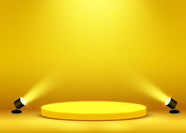 頒獎儀式的舞臺舞臺場景在聚光燈下照亮。頒獎儀式概念。舞臺背景。 - 成功 幅插畫檔、美工圖案、卡通及圖標