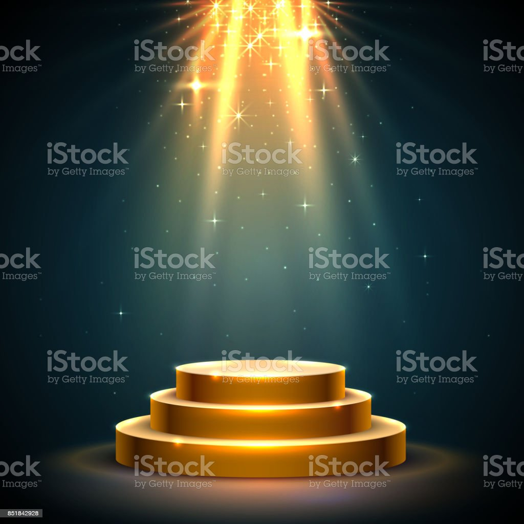 Stage Podium Scene with for Award Ceremony. vector art illustration