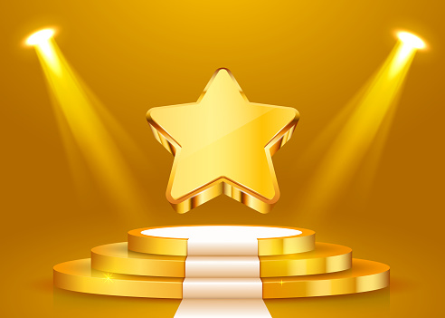 Stage podium with lighting, Stage Podium Scene with for Award Ceremony on purple Background
