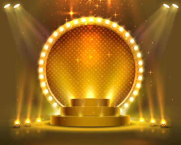 illustrazioni stock, clip art, cartoni animati e icone di tendenza di podio di tappa con illuminazione, scena del podio del palco con per la cerimonia di premiazione su sfondo rosso, illustrazione vettoriale - sfilata