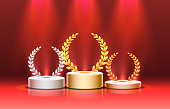 istock Stage podium with lighting, Stage Podium Scene with for Award Ceremony on red Background. Vector 1257541902