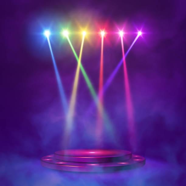 illustrazioni stock, clip art, cartoni animati e icone di tendenza di stage podium with lighting, - concerto
