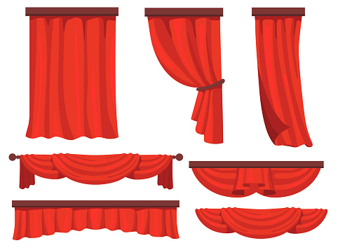 Stage red curtains flat set for web design. Cartoon fabric for background drapery in movie or opera vector illustration collection. Window drapery and decoration concept