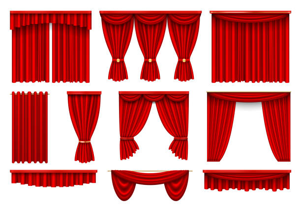Stage red curtains realistic vector illustrations set vector art illustration