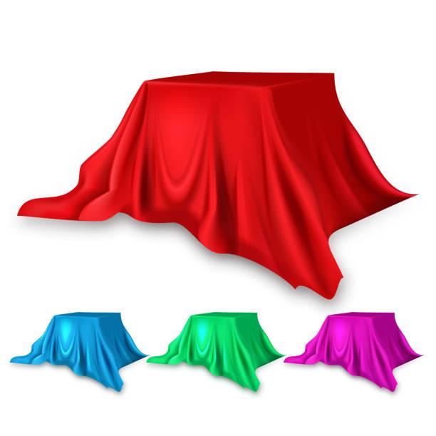 stage red silk set vector. stoff tuch waving form. zur präsentation. banner, podium, stand. samtes luxus-textildrapery. 3d-realistisches dekorationselement isolierte illustration - entdeckungskiste stock-grafiken, -clipart, -cartoons und -symbole