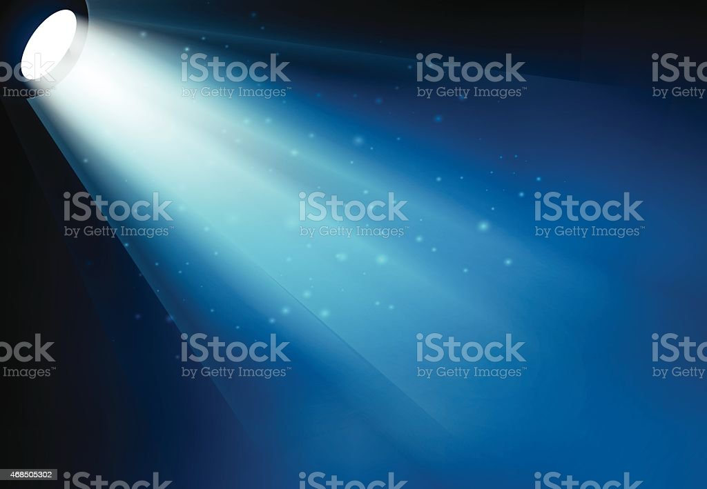 Stage spot light shining down with particles in the air vector art illustration