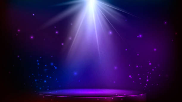 stage spot lighting. magic light. blue and purple vector background - reflektor światło elektryczne stock illustrations