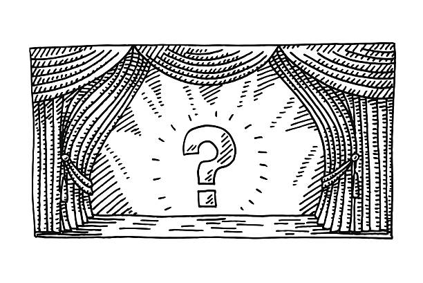 Stage Spotlight Question Mark Drawing Hand-drawn vector drawing of a Stage with Spotlight on a Question Mark Symbol. Black-and-White sketch on a transparent background (.eps-file). Included files are EPS (v10) and Hi-Res JPG. celebration stock illustrations