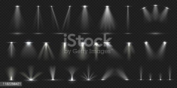 Stage spotlight. Show stage light effect, bright lighted concert scene for theater gallery disco club. Vector realistic vivid spotlight collection