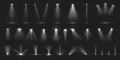 Stage spotlight. Show stage light effect, lighted concert scene for theater gallery disco club. Vector realistic spotlight collection